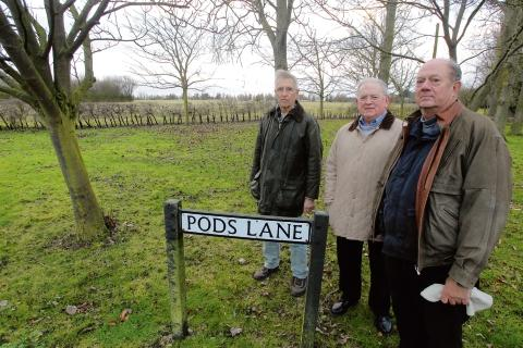 Martyn Phillips, Don Smith and Mike Banthorpe near the farm in Rayne where a quarry could be excavated