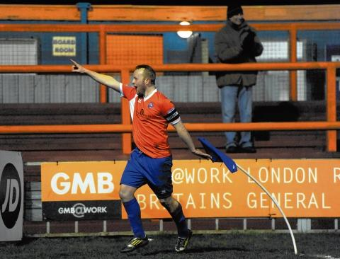 Kenny Davis celebrates scoring Braintree's second goal against Luton. Picture: NEIL DADY