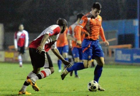Holman's sweet strike extends Braintree's unbeaten run. Picture: ALAN STUCKEY