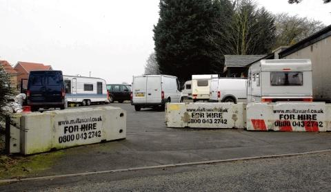 Caravans were still on the car park site this morning