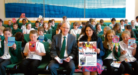 Flashback to last year: Priti Patel and Nick Gibb MP, the Minister of State for Schools with pupils from Powers Hall Junior School, Witham