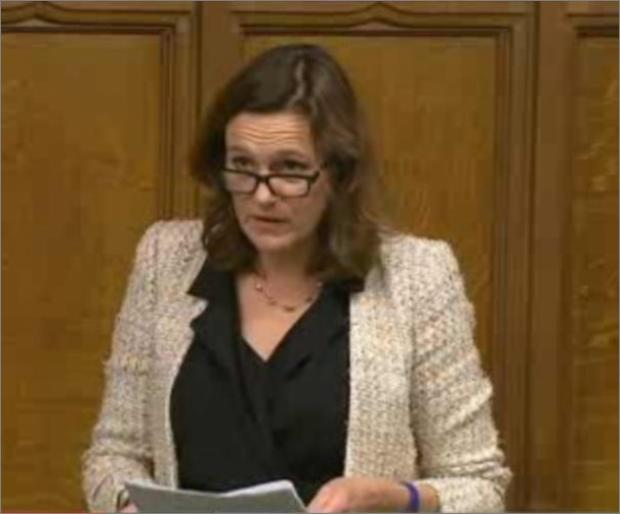 Braintree and Witham Times: Rebecca Harris MP - making her speech in Parliament