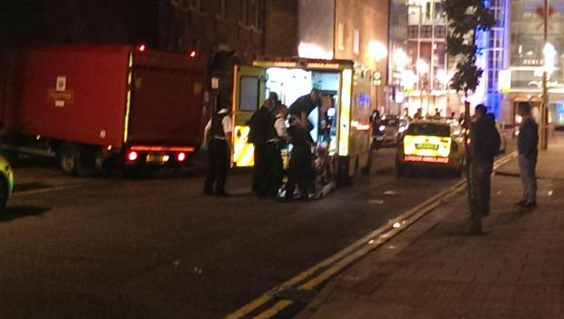 Police and ambulance crews at the scene. Photo courtesy of Cllr Paul Canal.