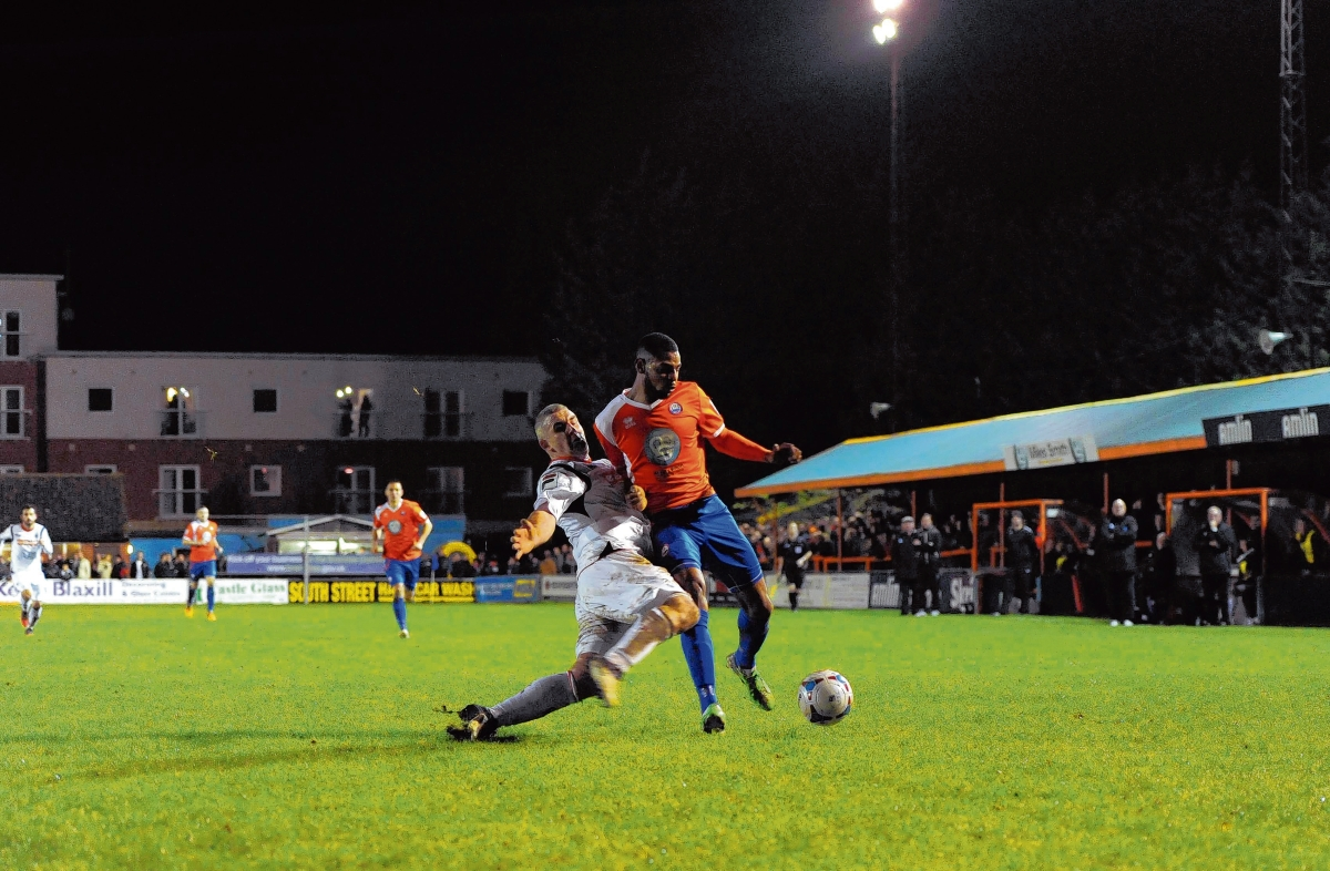 Jordan Cox scored Braintree's second goal and won the penalty that led to their third against Harlow. Picture: NEIL DADY