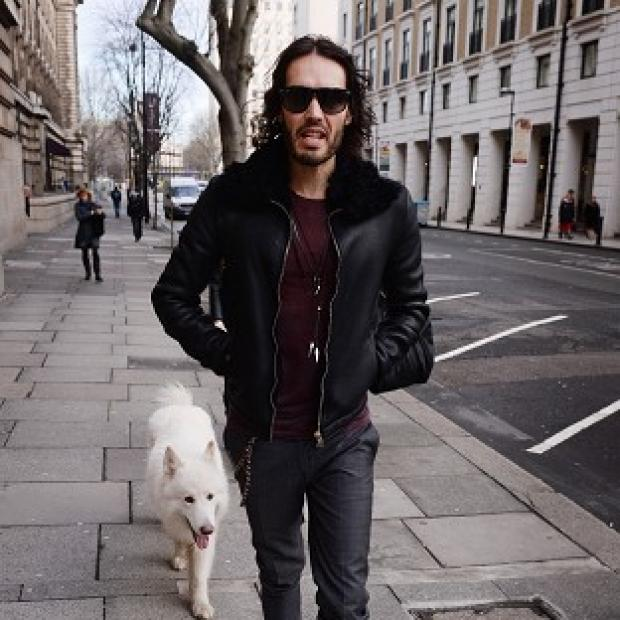Braintree and Witham Times: Russell Brand arrives at the London Film Museum where he announced funding for drug and alcohol recovery communities