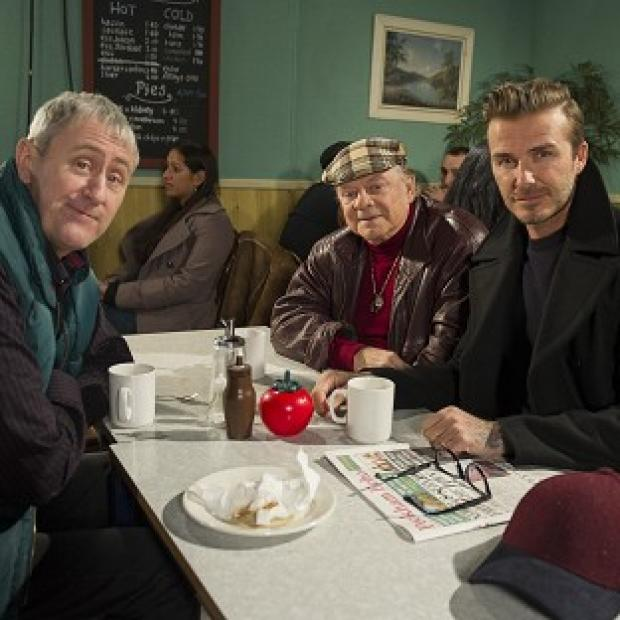 Braintree and Witham Times: David Beckham joins Sir David Jason and Nicholas Lyndhurst for a special Only Fools and Horses sketch reuniting Del Boy and Rodney for the first time in a decade (Comic Relief/PA)
