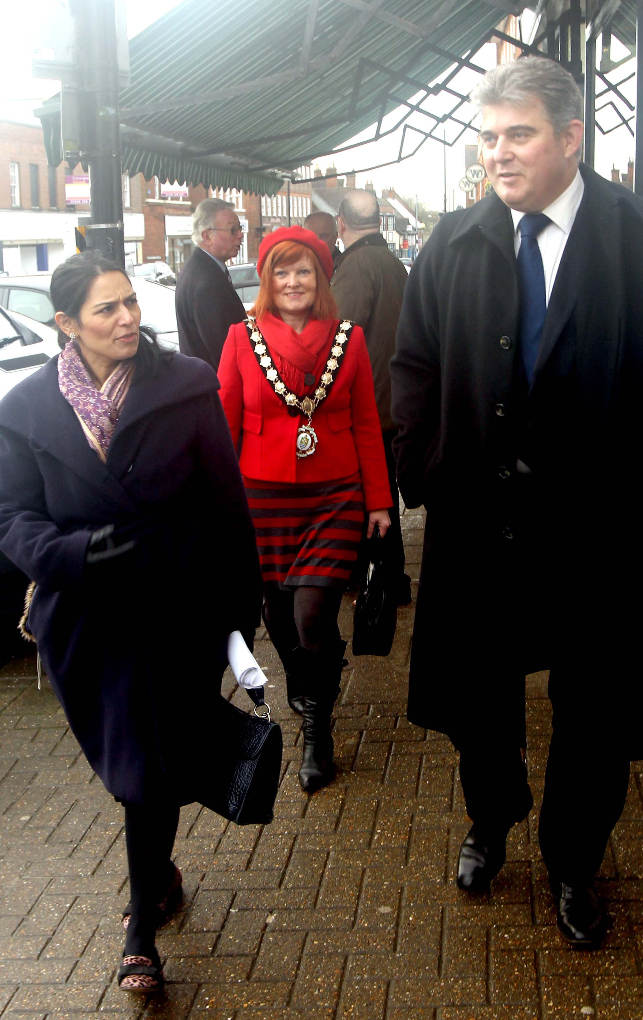 Priti Patel, pictured with Witham mayor Corinne Thompson and Trade Minister Brandon Lewis during a recent visit to the town.