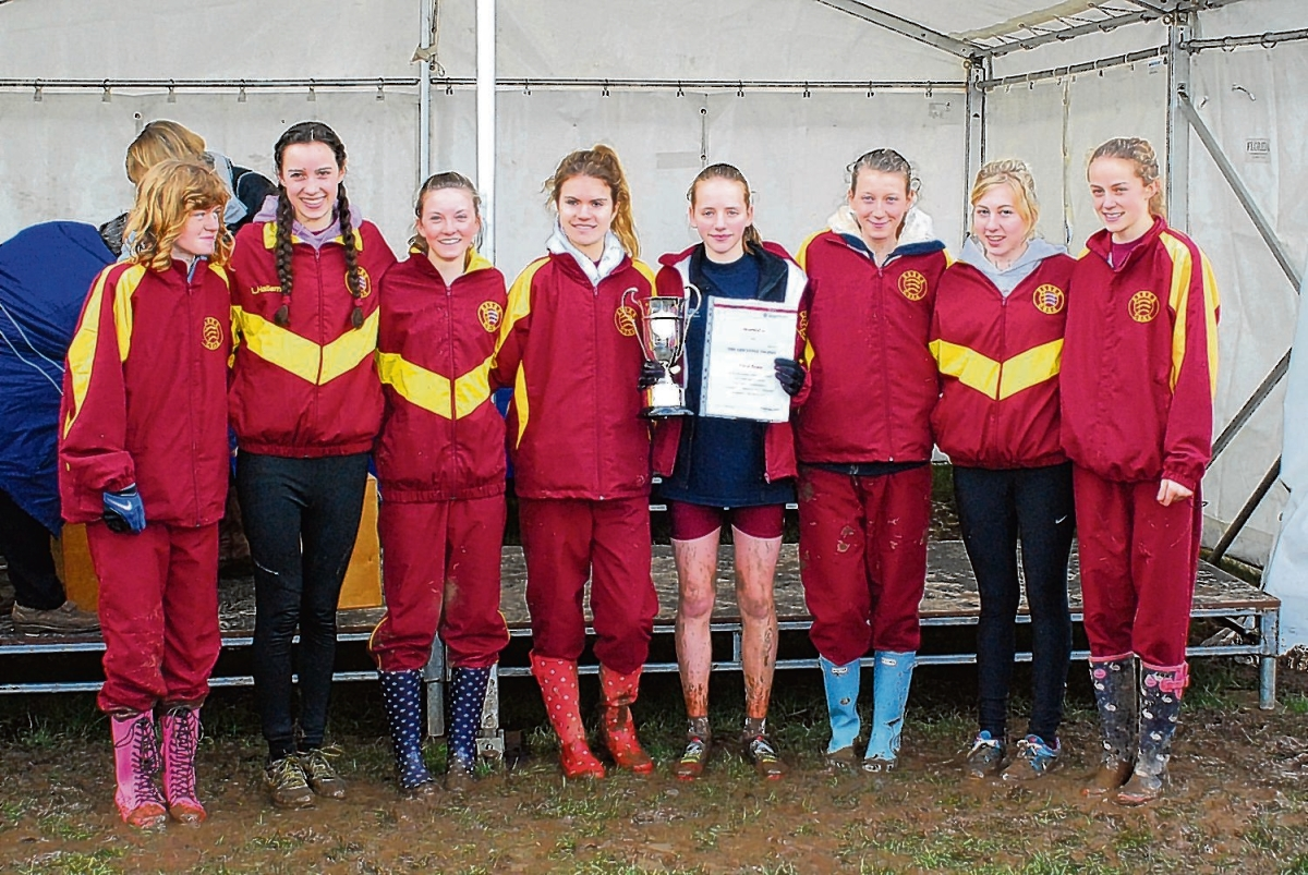 The Essex intermediate girls team that won gold at last year's English Schools Cross-Country Championships. This year's squad still