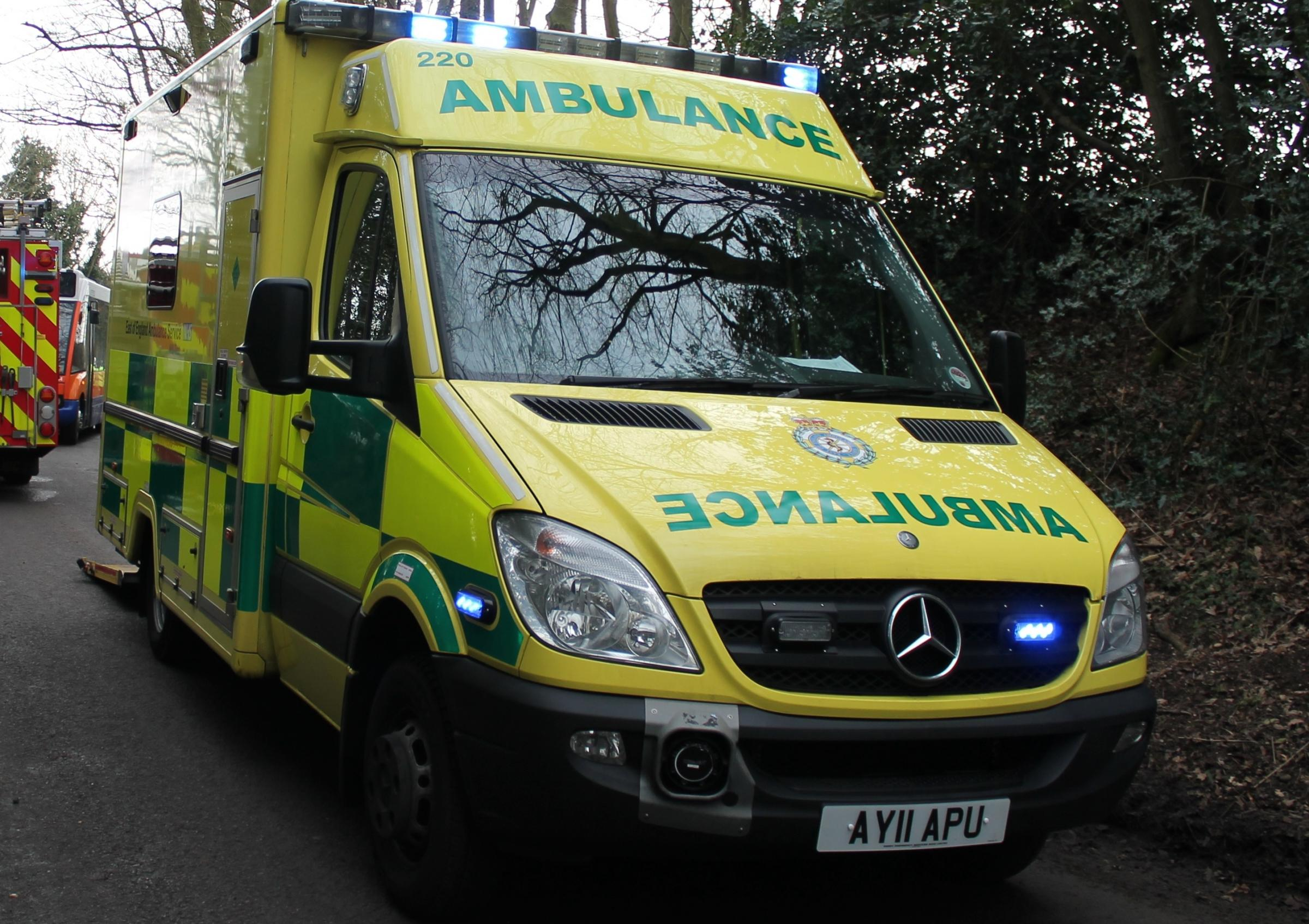 Man taken to hospital after falling from ladder