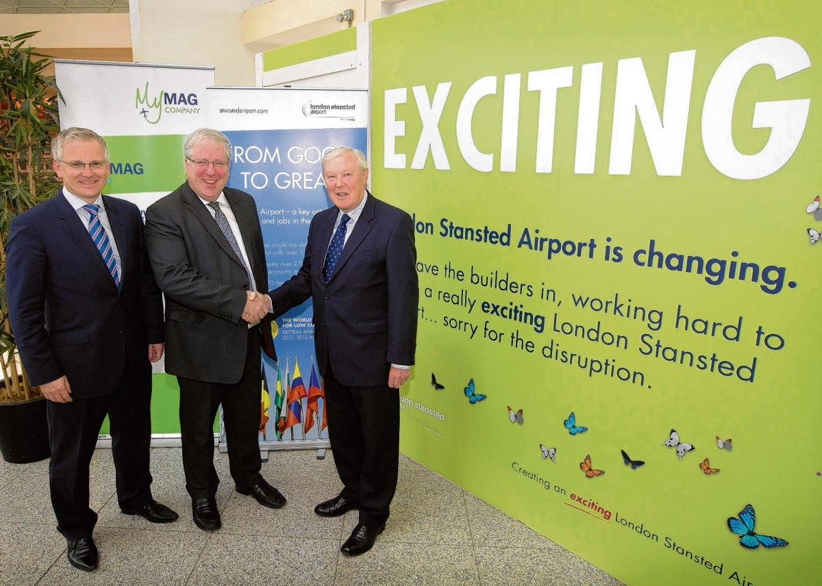 Stansted MD Andrew Harrison (left) at the launch of the airport's £80m terminal expansion project