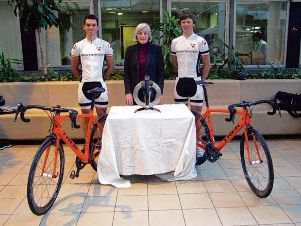 Leigh-on-Sea based cyclists Joe Giggins and Lloyd Chapman with councillor Ann Naylor