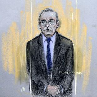 Braintree and Witham Times: Court artist sketch by Elizabeth Cook of Fred Talbot in the dock at Manchester Magistrates' Court.
