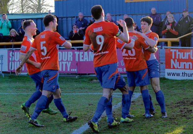 Braintree and Witham Times: Braintree players celebrate (Picture: Alan Stuckey)