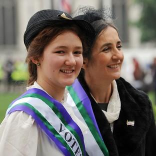 Laura Pankhurst and her mother Dr Helen Pankhurst have led a procession of women's rights campaigners through London