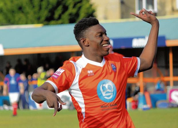 Bernard Mensah celebrates after scoring against Hyde recently. Picture: ALAN STUCKEY