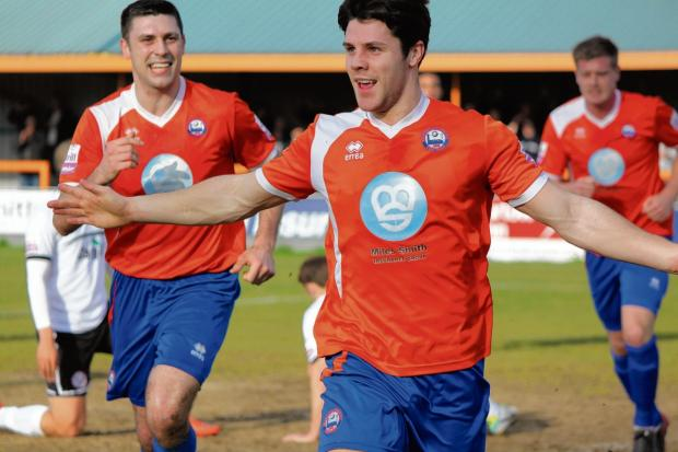 Braintree and Witham Times: Dan Holman celebrates the opening goal (Picture: Alan Stuckey)