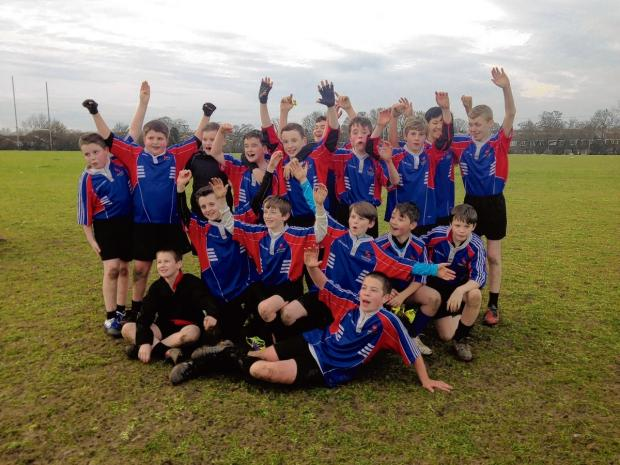 The Maltings Academy under-12 team celebrate their success.