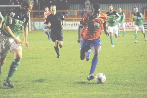 Bernard Mensah is staying positive after a horror tackle in Braintree's game against Lincoln City. Picture: ALAN STUCKEY