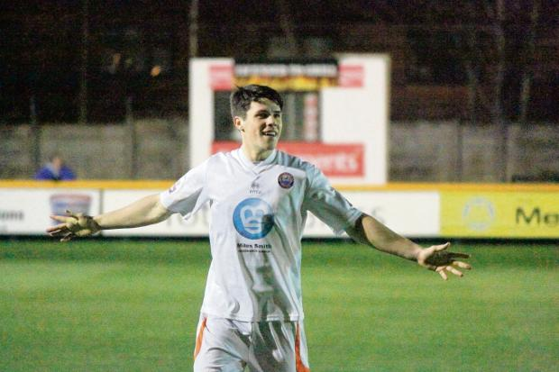 Dan Holman celebrates one of his two goals at Southport earlier this week. Picture: ALAN STUCKEY