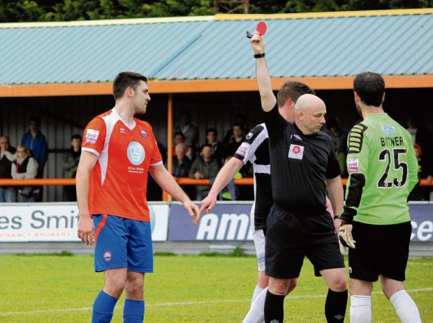 Tempers flared after referee Colin Lymer gave Sean Marks a red card (Photo: Neil Dady)