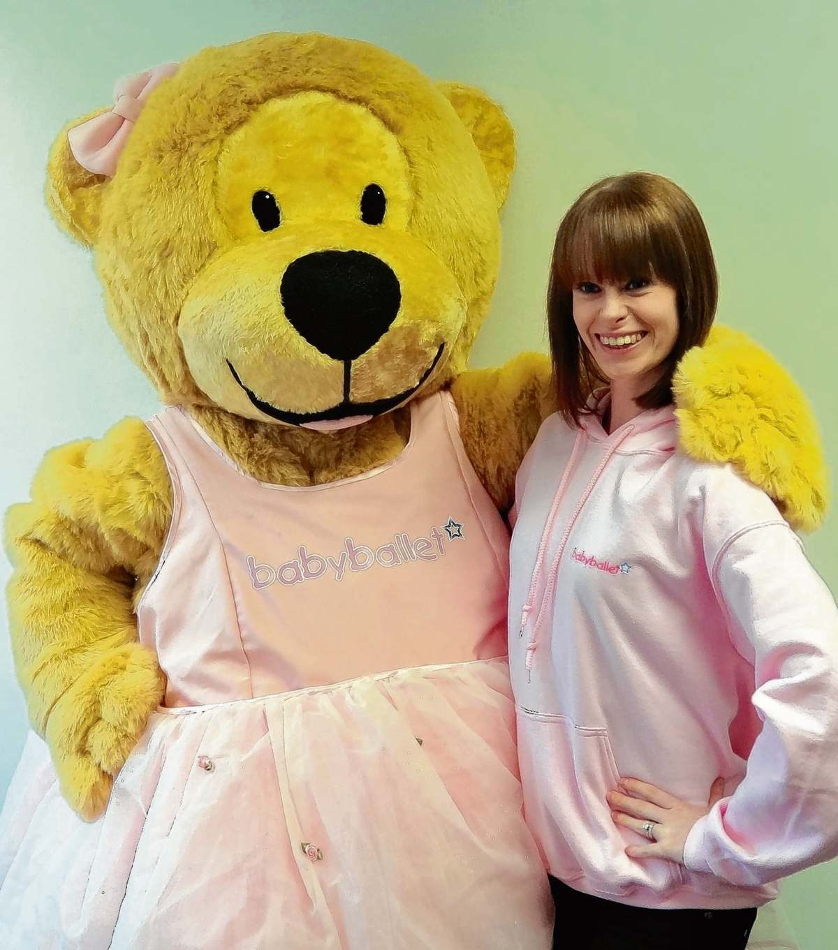 Catherine Segal with Twinkle the Baby Ballet mascot