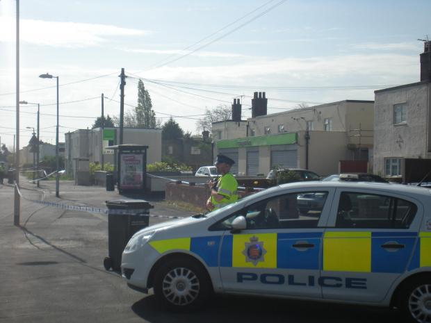 The police cordon at the scene of the murder