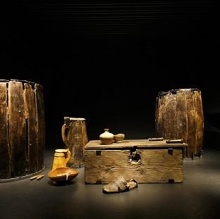 Artifacts brought from the sea bed of The Solent and preserved on display