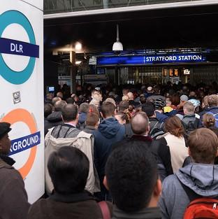 Braintree and Witham Times: Commuters at Stratford station in east London, on the first day of a 48 hour strike by tube workers