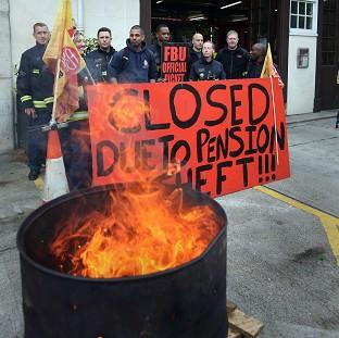 Braintree and Witham Times: Euston fire station in central London where firefighters were staging a five hour strike in a row over pensions