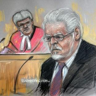 Braintree and Witham Times: Court artist drawing by Elizabeth Cook of Rolf Harris in the dock at Southwark Crown Court. (Elizabeth Cook/PA)