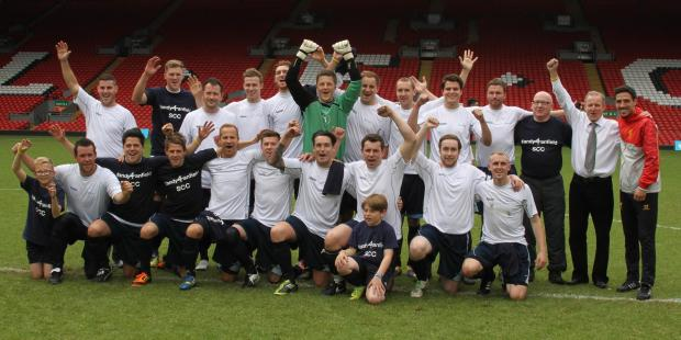 Sunday league footballers win Barclays match at Anfield