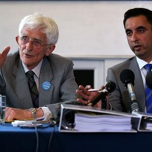 Braintree and Witham Times: Dr Jim Swire (left) with solicitor Aamer Anwar (right) as relatives of Abdelbaset al-Megrahi, the only man convicted of the Lockerbie bombing, are to pursue a fresh bid to clear his name