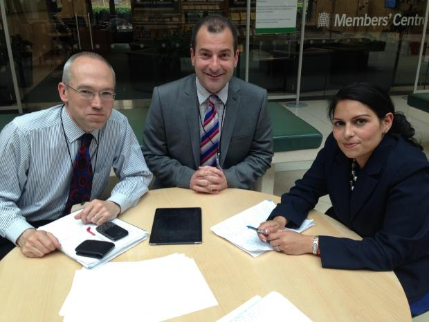 Priti Patel meets Abellio Greater Anglia's head of corporate affairs Jonathan Denby and managing director Jamie Burles