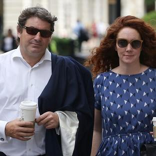 Charlie and Rebekah Brooks outside the Old Bailey in central London as the jury considers verdicts in the phone hacking trial.