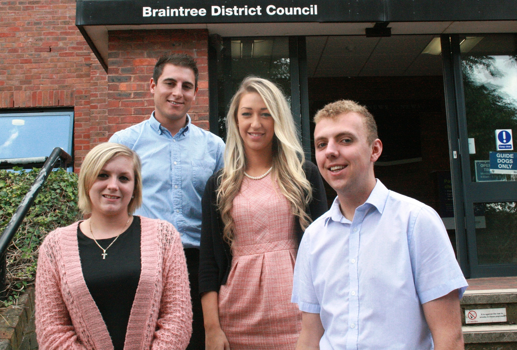 Tara McIntryre (pictured far left) with other apprentices when she started at Braintree Council