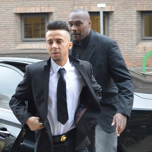 Dappy arrives at Chelmsford Magistrates' Court with a minder