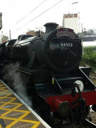Crowds gather at station for rare Black Five steam engine