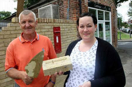 Braintree and Witham Times: Stuart Gardner and Rebecca Popham with the post box