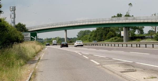 Braintree and Witham Times: The A120 near Stebbing - where the motorcyclist was clocked doing 153mph