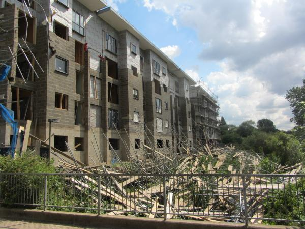 Workers had a narrow escape when scaffolding collapsed