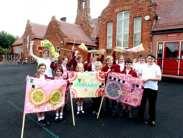Pupils at Finchingfield Primary School have made special flags for the Tour