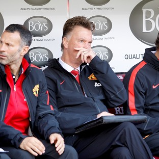 Manchester United boss Louis van Gaal, centre, endured a frustrating afternoon at Burnley