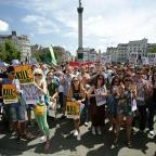 Braintree and Witham Times: Protesters take part in a demonstration by the Greek Solidarity Campaign in Trafalgar Square