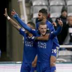 Braintree and Witham Times: Leicester's Jamie Vardy, front, celebrates his record-equalling goal at Newcastle last week