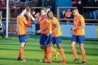 Braintree Town's players celebrate Matt Paine's goal in their 2-0 win against Chester FC on Saturday. Picture: CHRIS JARVIS