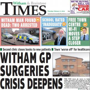 Braintree and Witham Times: In this week's Witham Times: Witham GP surgeries crisis deepens