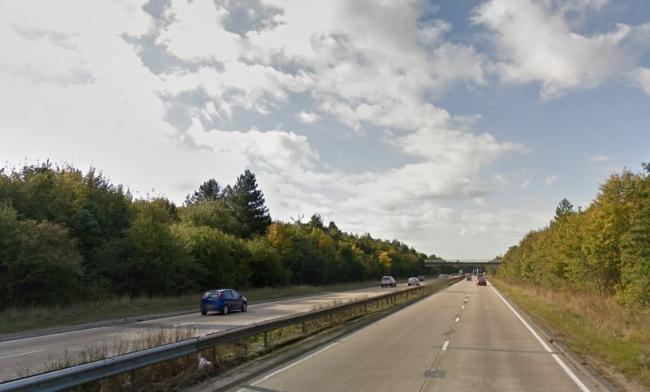 Lane blocked on the A12 after two-car crash