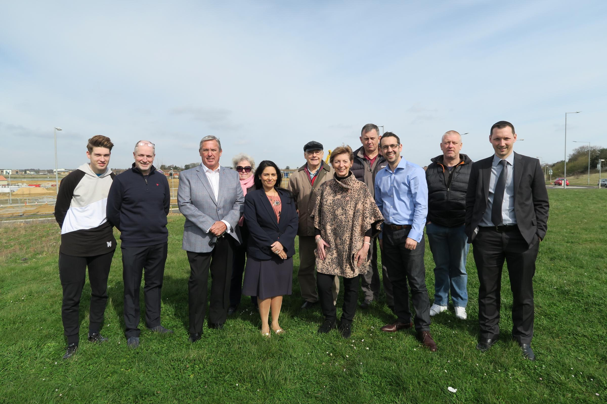 Opposed - MP Priti Patel with fellow protestors on the Lakelands site