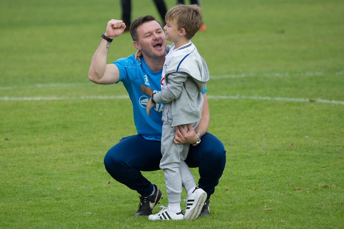 Braintree Town manager Brad Quinton and his son Bobby. Picture: Chris Jarvis