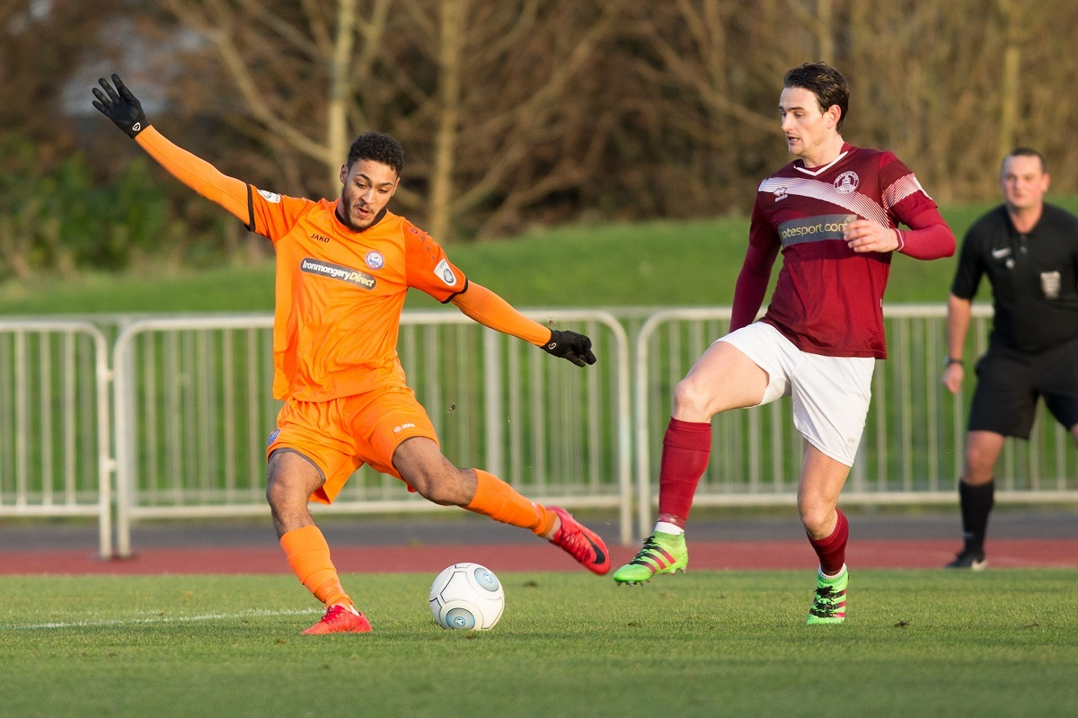 Reece Grant scored twice for the Iron against East Thurrock United. Picture: Chris Jarvis